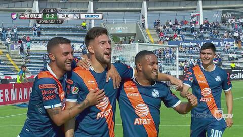 Con estos goles, Puebla vence 3-0 a Lobos al final del primer tiempo