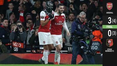 Aubameyang, a lo 'Black Panther', marcó doblete y lideró remontada del Arsenal ante el Rennes