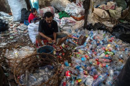 Garbage collectors sort plastic bottles in Surabaya on September 15, 2021. (Photo by Juni Kriswanto / AFP) (Photo by JUNI KRISWANTO/AFP via Getty Images)