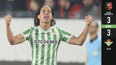 ¡Lainez Monumental! El mexicano dio vida al Betis con el gol del empate ante el Rennes