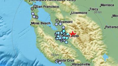 Sismo de magnitud 3.4 sobre la falla de Calaveras sacude esta madrugada el sur de la Bahía
