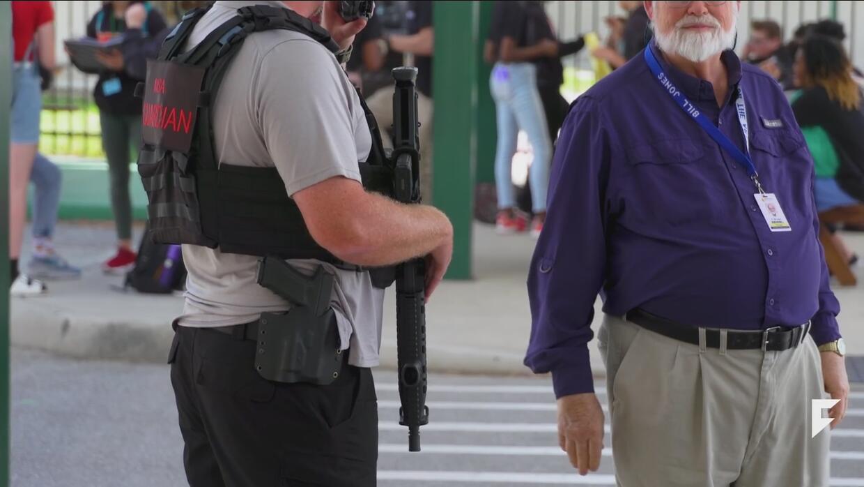 War veterans with guns patrolling a charter school in Florida