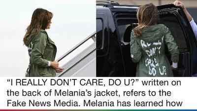 Trump responde por la chaqueta que vestía Melania al visitar la frontera