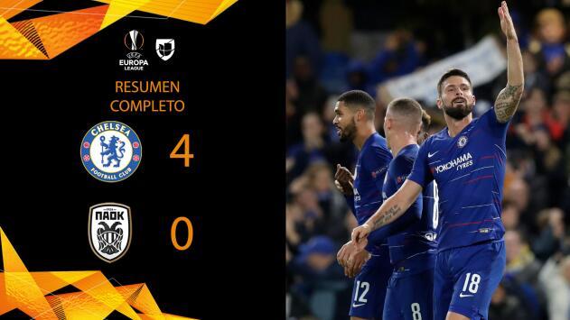 Chelsea 4-0 Paok - GOLES Y RESUMEN - Grupo L - UEFA Europa League