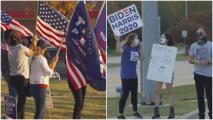 Manifestantes a favor y en contra de Trump en Plano protestan en medio de la incertidumbre por las elecciones