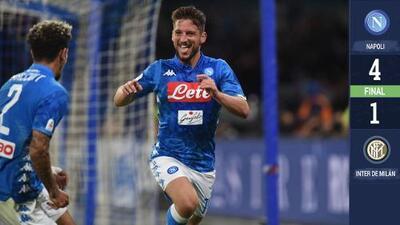 Napoli goleó 4-1 al Inter y lo complicó de cara a la Champions