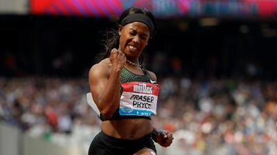 Shelly-Ann Fraser-Pryce vuela en los 100 m planos