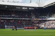 one minute silence, tribute to Jurrie Koolhof during the Dutch Eredivisie match between PSV Eindhoven and Fortuna Sittard at the Phillips stadium on February 03, 2019 in Eindhoven, The Netherlands(Photo by VI Images via Getty Images)
