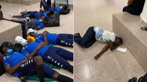 ¡Inaudito! Aubameyang y Gabón duermen en el piso del aeropuerto