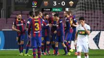 Con doblete de Messi, Barcelona vence al Elche y se acerca a la cima