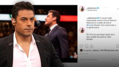 Carlos Rivera le da un nocaut a las críticas que recibió tras cantar el himno en la pelea del 'Canelo'