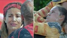 Gloria Aura y Gina Holguín sufren en la prueba de tierra y su equipo hace de todo por ayudarlas