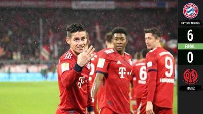 'Hat-trick' de James y el Múnich despedaza al Mainz para retomar la punta de la Bundesliga