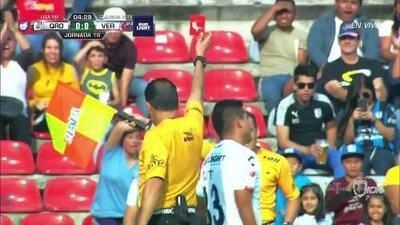 ¡Expulsión! El árbitro saca la roja directa a Carlos Gutiérrez