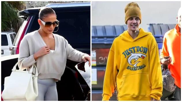 JLo luce regia frente al lente de los paparazzi mientras Justin Bieber prefiere la comodidad al vestir