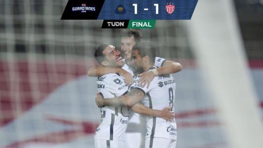 ¡Dividen puntos en C.U.! Pumas empata 1-1 con Necaxa