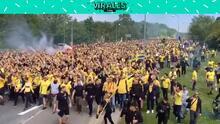 ¡Monumental marcha de aficionados del Brondby!