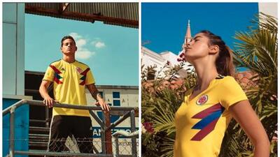 En Colombia, la camiseta de la selección masculina de fútbol la modela James; la femenina, una reina de belleza