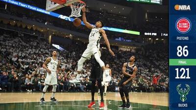 Los Bucks enseñan las armas y aplastan a los Pistons en el Juego 1