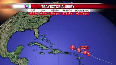Esta es la trayectoria actualizada del huracán Jerry según el pronóstico