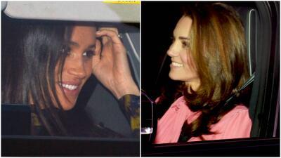 Kate Middleton y Meghan Markle ofrecen su mejor sonrisa en el almuerzo navideño en Buckingham