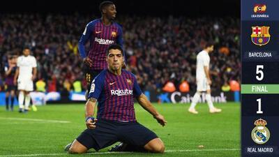 ¡Sin piedad! Suárez la hace de Messi y Barcelona golea al Real Madrid