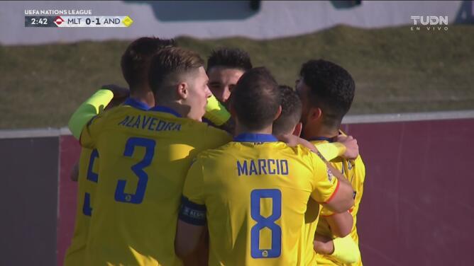 ¡Un balazo en el área! Marc Rebés hace el 0-1 de Andorra ante Malta