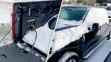 Conductores en Texas usan el generador eléctrico de sus pickups para calentar sus hogares