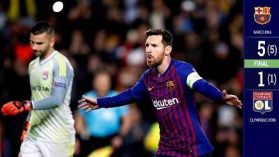Barcelona goleó al Lyon y avanzó a los Cuartos de Final de la Champions