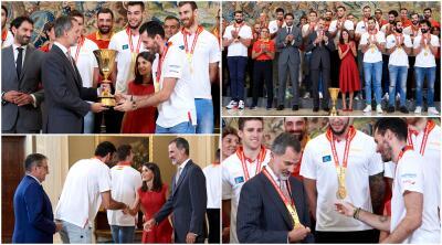 El rey de España recibe a la selección campeona del mundo en basquetbol