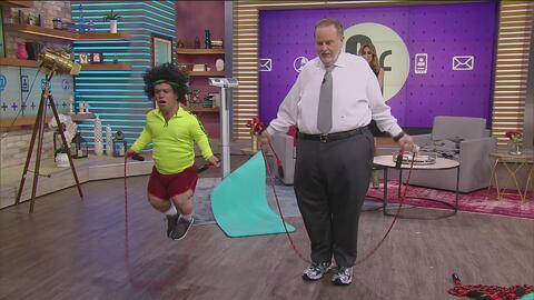 El Gordo regresa de su tour gastronómico con la intención de bajar de peso (el estudio es su gym)