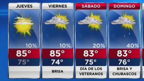 Jueves cálido y soleado para Miami y todo el sur de Florida