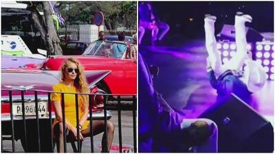 El paseo de Paulina Rubio por Cuba y la aparatosa caída de Pancho Barraza en pleno escenario