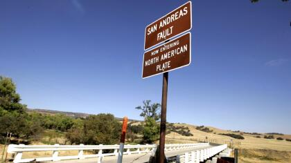 """PARKFIELD, CA - SEPTEMBER 30: The Parkfield Coalinga bridge crosses over the San Andreas fault on the Parkfield Coalinga Road in Parkfield California on September 30,2004. The tiny central California town with a population of 19 which claims to be known as """"The earthquake capital of the world"""" was hit with a 6.0 earthquake on Tuesday September 28, 2004. (Photo by David Paul Morris/Getty Images)"""