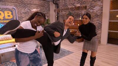 Amara 'La Negra' puso a prueba la elasticidad y flexibilidad de Carlos Calderón