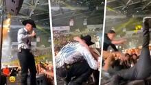 Eduin Caz de Grupo Firme sufre fuerte caída en el escenario