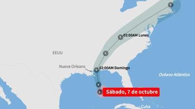 Última previsión: Mapa de la trayectoria de la tormenta tropical Nate