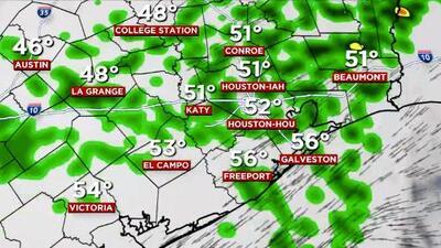 Un jueves lluvioso para el área de Houston con temperaturas en el rango medio de los 50 grados