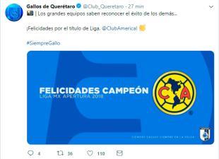 Los equipos de la Liga MX que felicitaron al América por el título del Apertura 2018