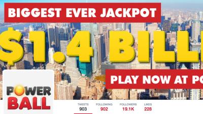 Llega a $1,400 millones la bolsa del Powerball