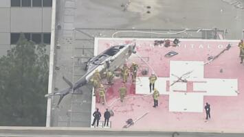 Un hospital de Los Ángeles vive momentos aterradores al estrellarse un helicóptero que transportaba un corazón