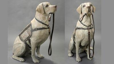 Dedican estatua a 'Sully' el perro de servicio del expresidente George H.W. Bush
