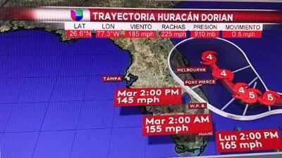Esta es la trayectoria actualizada del huracán Dorian