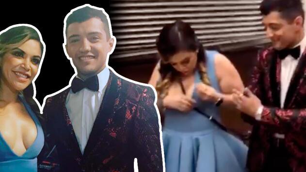 """""""¡La chichi, sorry!"""": a Jacqie Rivera la traicionó el escote tras cantar con Bebé Coronel"""