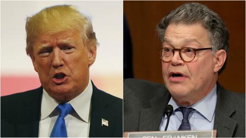 Trump critica a Franken sobre acusaciones de acoso sexual, pero guarda silencio sobre el caso de Moore