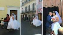 La historia de una novia atrapada en un atasco en México que llegó a su boda en una moto
