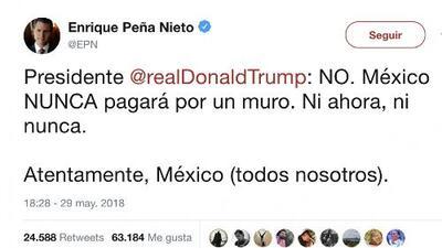 """México NUNCA pagará por un muro"", Peña Nieto le responde a Trump"
