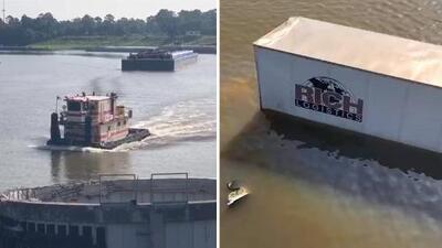 Buzos se unen al operativo de búsqueda del conductor de un camión sumergido en el río San Jacinto
