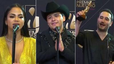 """Natti Natasha, Christian Nodal, Reik y más famosos """"locos de agradecimiento"""" por ser ganadores en Premio Lo Nuestro"""