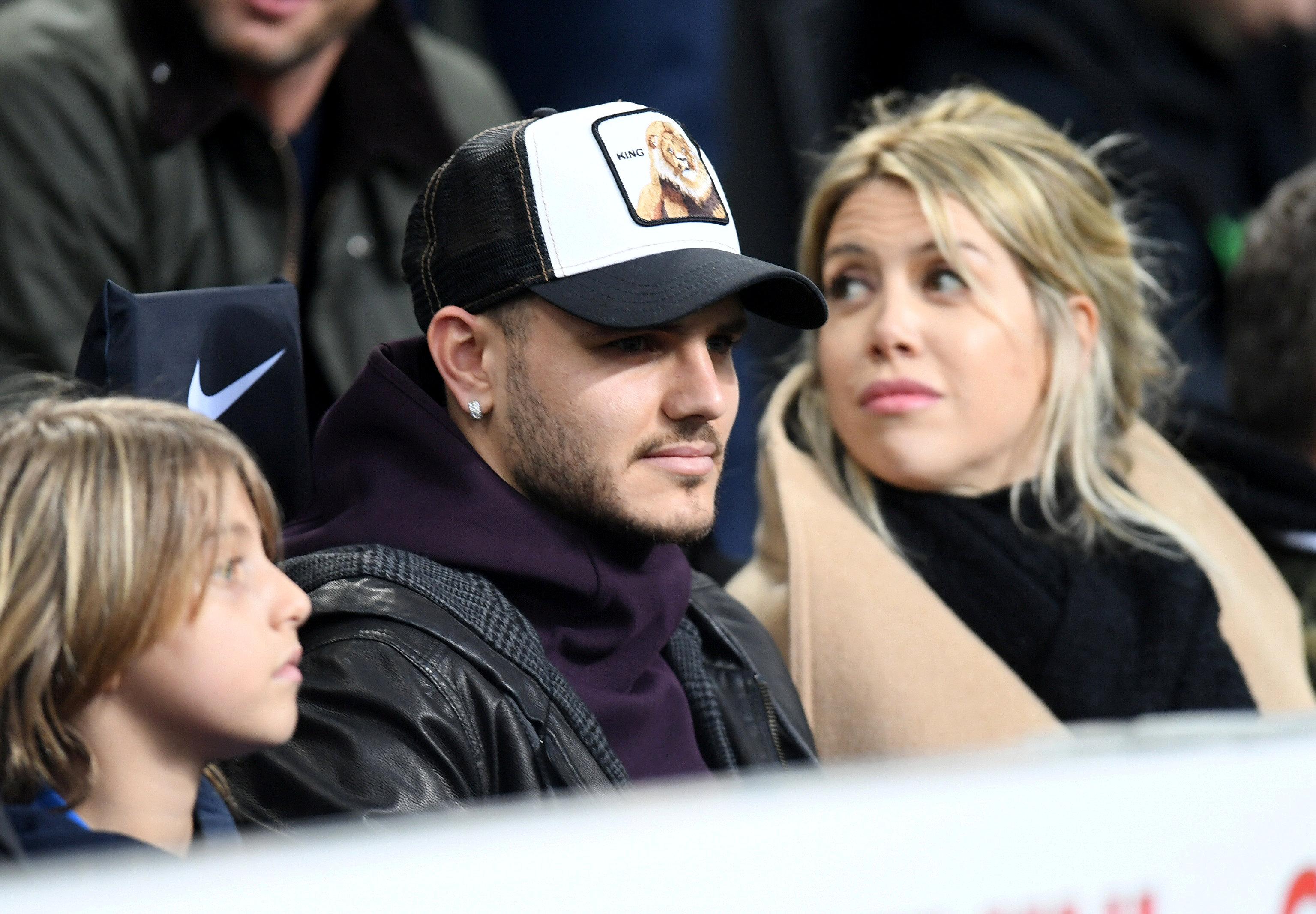 Mauro Icardi y Wanda Nara vieron desde la tribuna el triunfo del Inter sobre Sampdoria